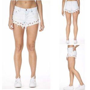 LF CARMAR Triangle Cutout Denim Shorts Size 27